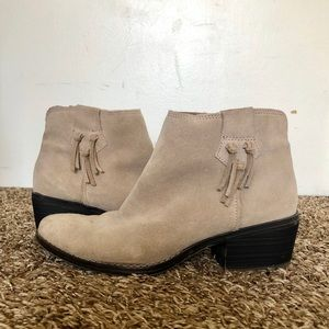 White Mountain Genuine Leather Taupe Suede Booties